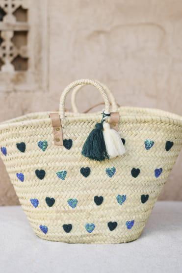 Large Mi Corazon Navy Basket