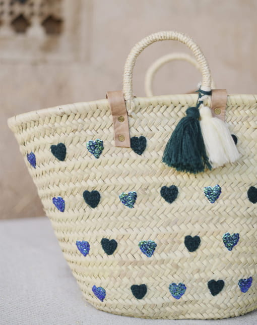 Large Mi Corazon Navy Basket